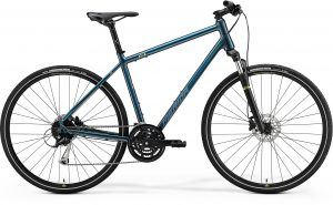 Велосипед 28″ Merida Crossway 100 Teal-Blue (Silver-Blue/lime) 2021
